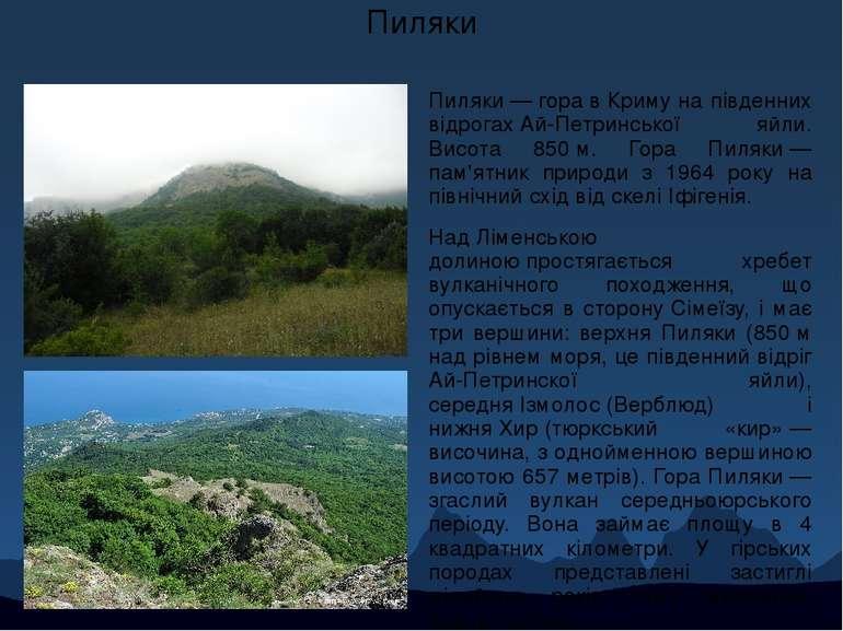 Пиляки Пиляки—горавКримуна південних відрогахАй-Петринської яйли. Висот...