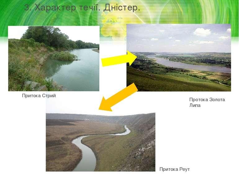 3. Характер течії. Дністер. Притока Стрий Протока Золота Липа Притока Реут