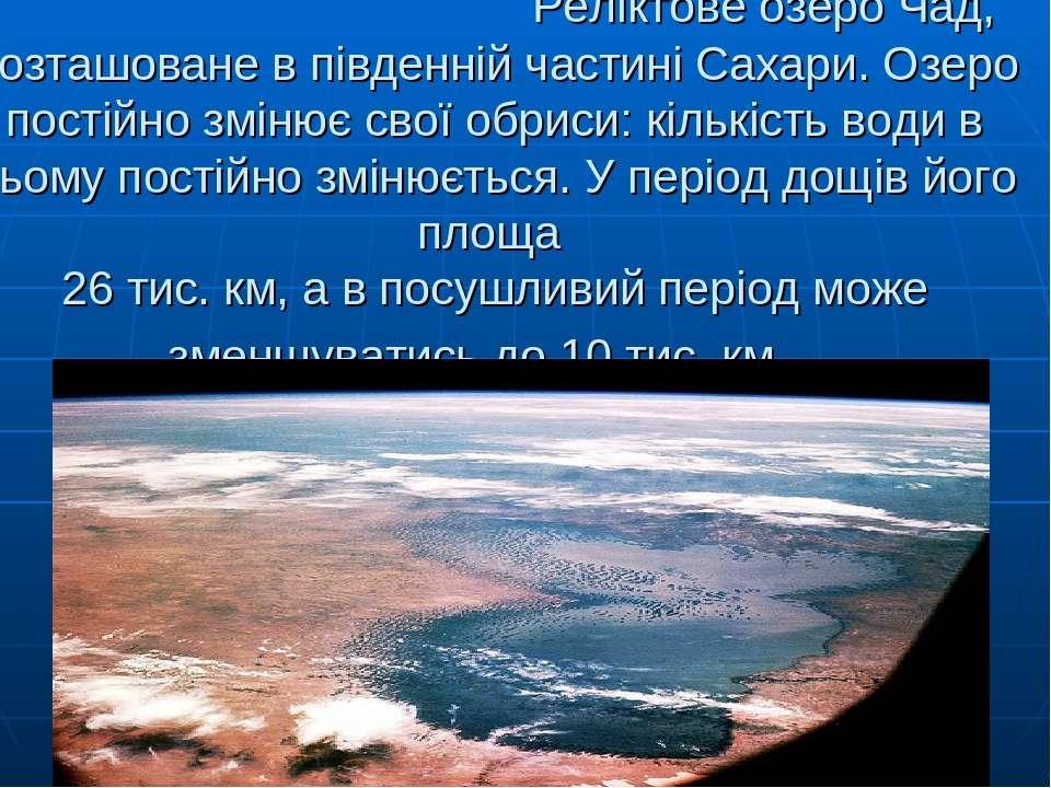 Реліктове озеро Чад, розташоване в південній частині Сахари. Озеро постійно з...