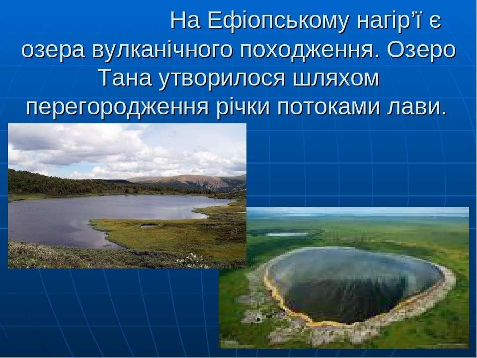 На Ефіопському нагір'ї є озера вулканічного походження. Озеро Тана утворилося...