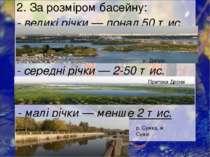2. За розміром басейну: - великі річки— понад 50тис. км2; - середні річки—...