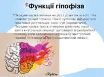 Функції гіпофіза Передня частка впливає на ріст і розвиток всього тіла (сомат...