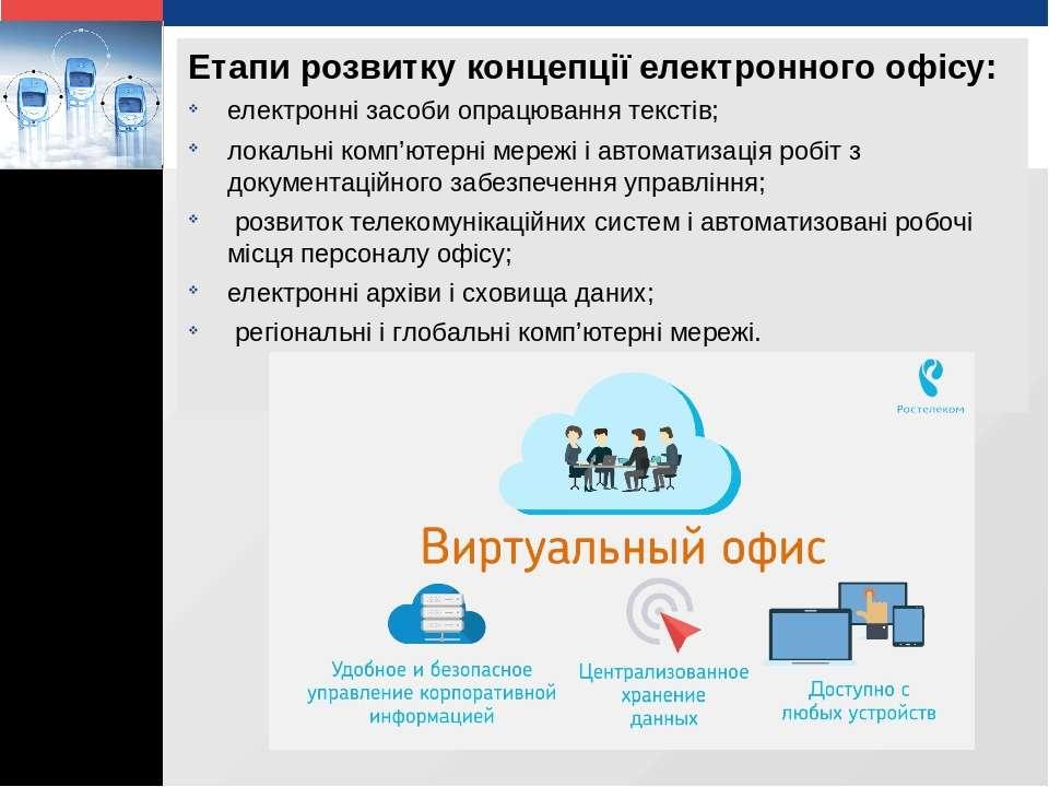 Етапи розвитку концепції електронного офісу: електронні засоби опрацювання те...