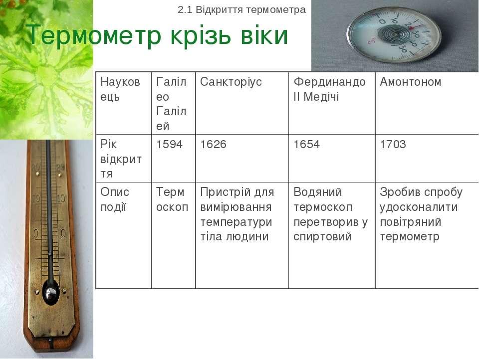 Термометр крізь віки 2.1 Відкриття термометра Науковець Галілео Галілей Санкт...