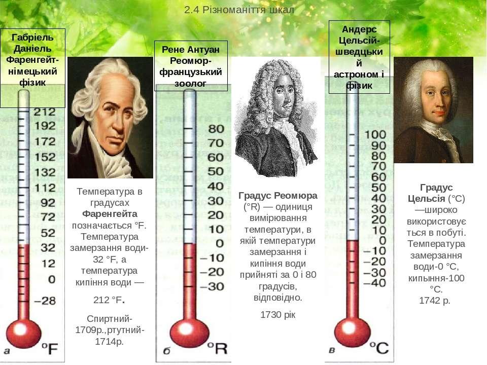 . 2.4 Різноманіття шкал Габріель Даніель Фаренгейт-німецький фізик Температур...