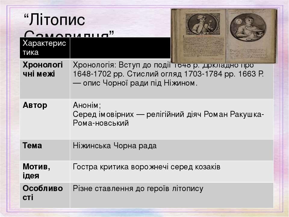 """""""Літопис Самовидця"""" Характеристика Хронологічні межі Хронологія:Вступдоподії1..."""