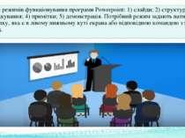 Є п'ять режимів функціонування програмиPowerpoint: 1) слайди; 2) структура; ...