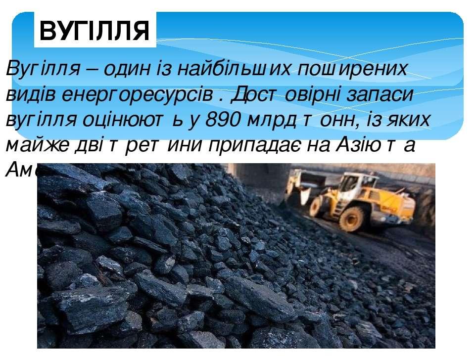 ВУГІЛЛЯ Вугілля – один із найбільших поширених видів енергоресурсів . Достові...