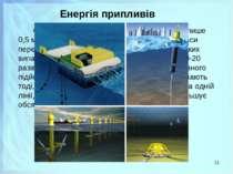 Енергія припливів Середня висота припливу складає усього лише 0,5 м, за винят...