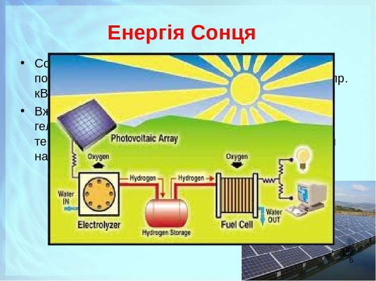 Енергія Сонця Сонячна енергія – практично невичерпне джерело, потужність яког...