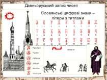 Давньоруський запис чисел В Древней Руси буква «а» обозначала число 1 Буква «...