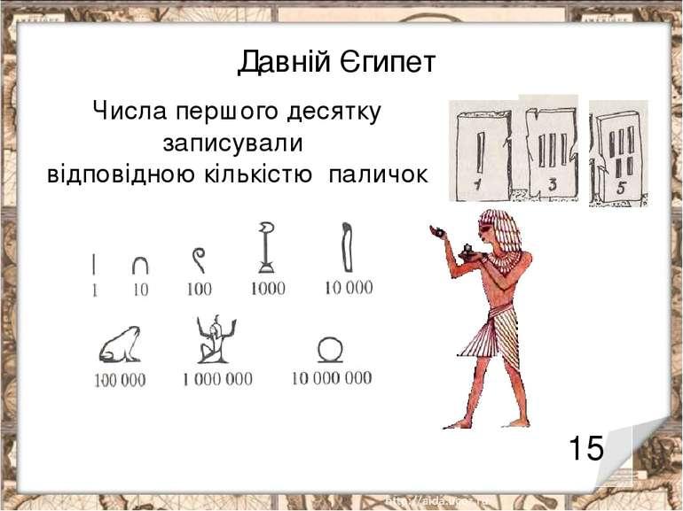 Давній Єгипет 15 Числа першого десятку записували відповідною кількістю паличок