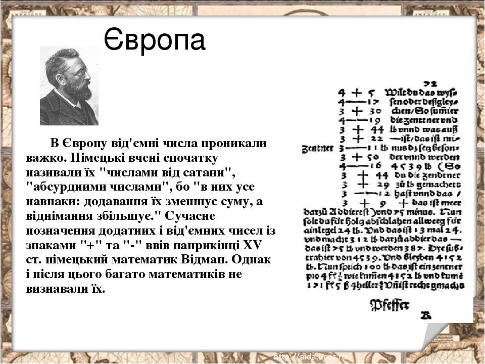 Європа В Європу від'ємні числа проникали важко. Німецькі вчені спочатку назив...