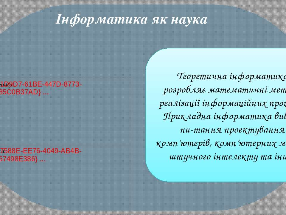 Теоретична інформатика розробляє математичні методи реалізації інформаційних ...