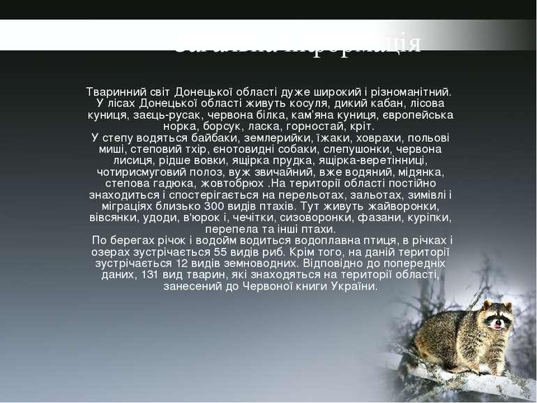Тваринний світ Донецької області дуже широкий і різноманітний. У лісах Донець...