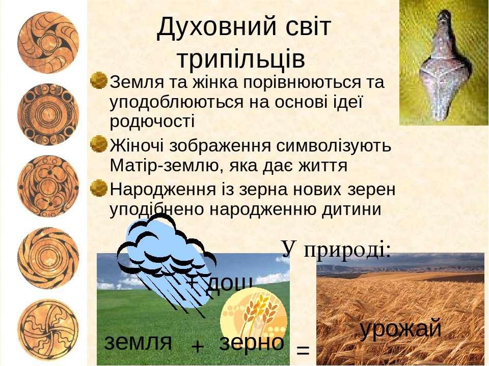 Духовний світ трипільців Земля та жінка порівнюються та уподоблюються на осно...