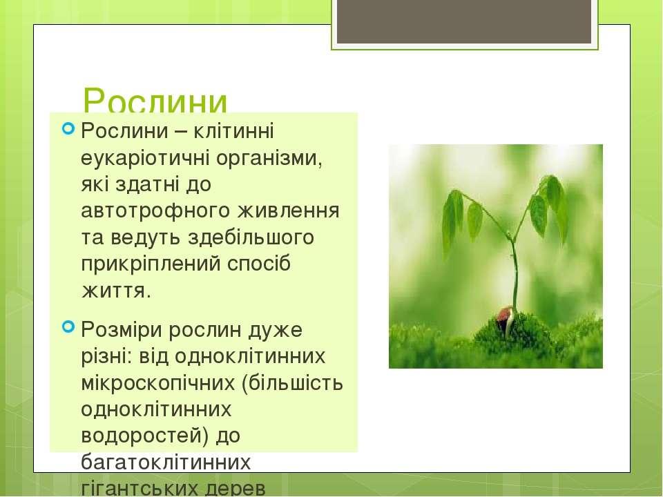 Рослини Рослини – клітинні еукаріотичні організми, які здатні до автотрофного...