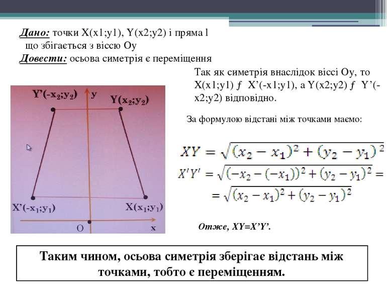 Дано: точки X(х1;у1), Y(х2;у2) і пряма l що збігається з віссю Оу Довести: ос...