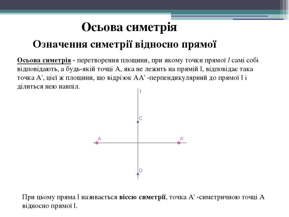 Осьова симетрія Осьова симетрія- перетворення площини, при якому точки прямо...