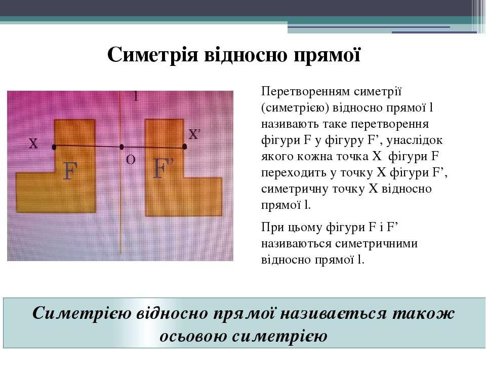 Симетрія відносно прямої Перетворенням симетрії (симетрією) відносно прямої l...