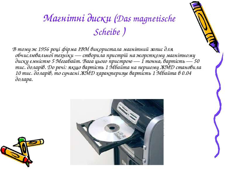 Магнітні диски (Das magnetische Scheibe ) В тому ж1956році фірмаIBMвикори...