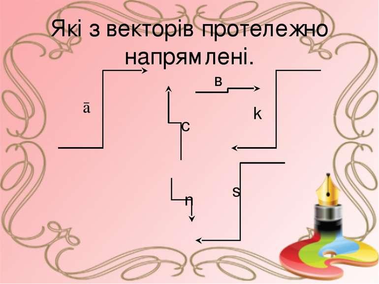 Які з векторів протележно напрямлені. ā в с k n s