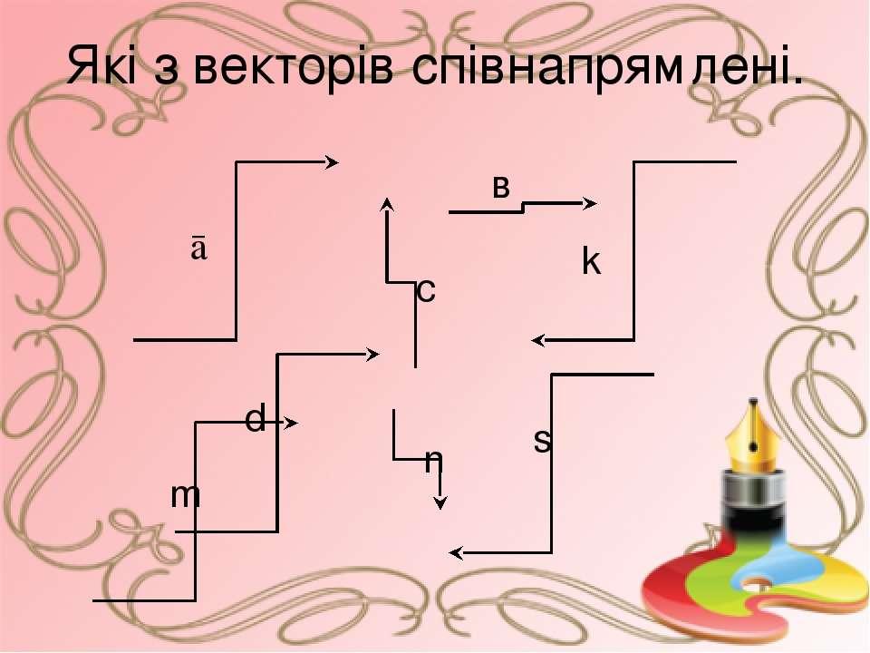 Які з векторів співнапрямлені. ā в с d k n m s