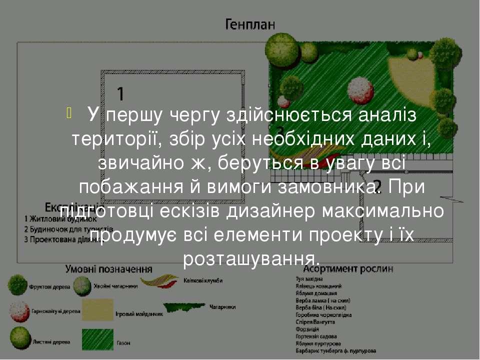 У першу чергу здійснюється аналіз території, збір усіх необхідних даних і, зв...
