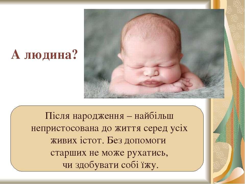 А людина? Після народження – найбільш непристосована до життя серед усіх живи...