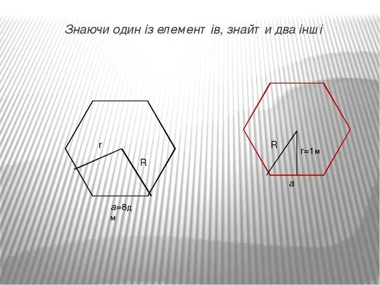 Знаючи один із елементів, знайти два інші а=8дм R r r=1м R а