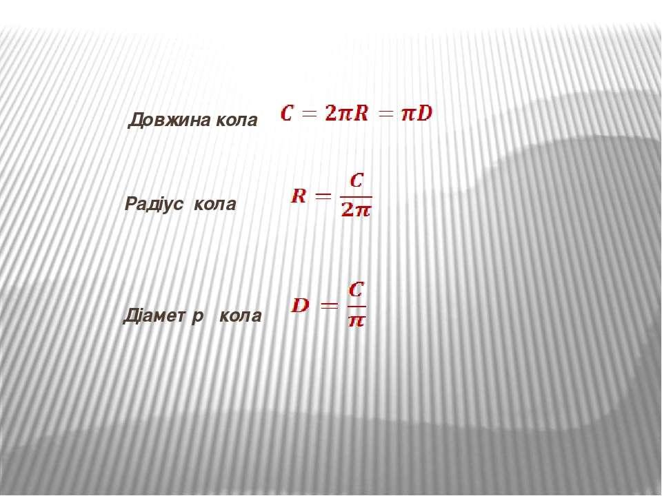 Довжина кола Радіус кола Діаметр кола