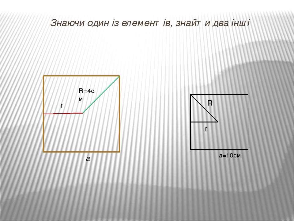 Знаючи один із елементів, знайти два інші r R=4см а а=10см R r