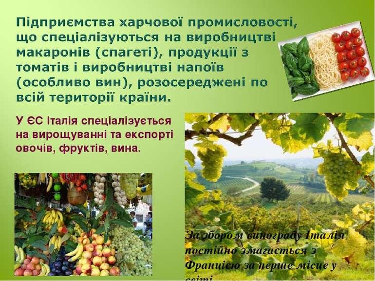 У ЄС Італія спеціалізується на вирощуванні та експорті овочів, фруктів, вина....