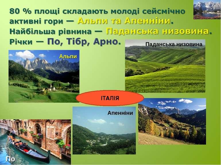 Паданська низовина Альпи Апенніни По ІТАЛІЯ
