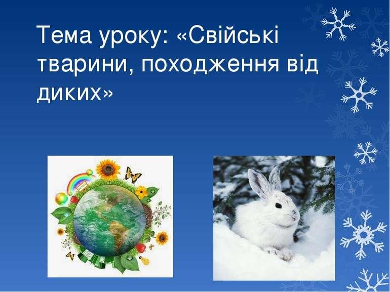 Тема уроку: «Свійські тварини, походження від диких»