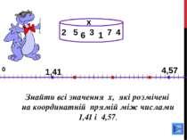 2 0 Знайти всі значення х, які розмічені на координатній прямій між числами 1...