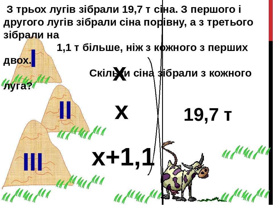 З трьох лугів зібрали 19,7 т сіна. З першого і другого лугів зібрали сіна пор...