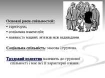 Основні риси спільностей: • територія; • соціальна взаємодія; • наявність міц...