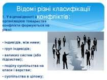 1. У відповідності з організацією товариства конфлікти формуються на рівні: ...