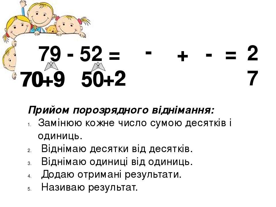79 - 52 = 70 +9 50 +2 Прийом порозрядного віднімання: Замінюю кожне число сум...