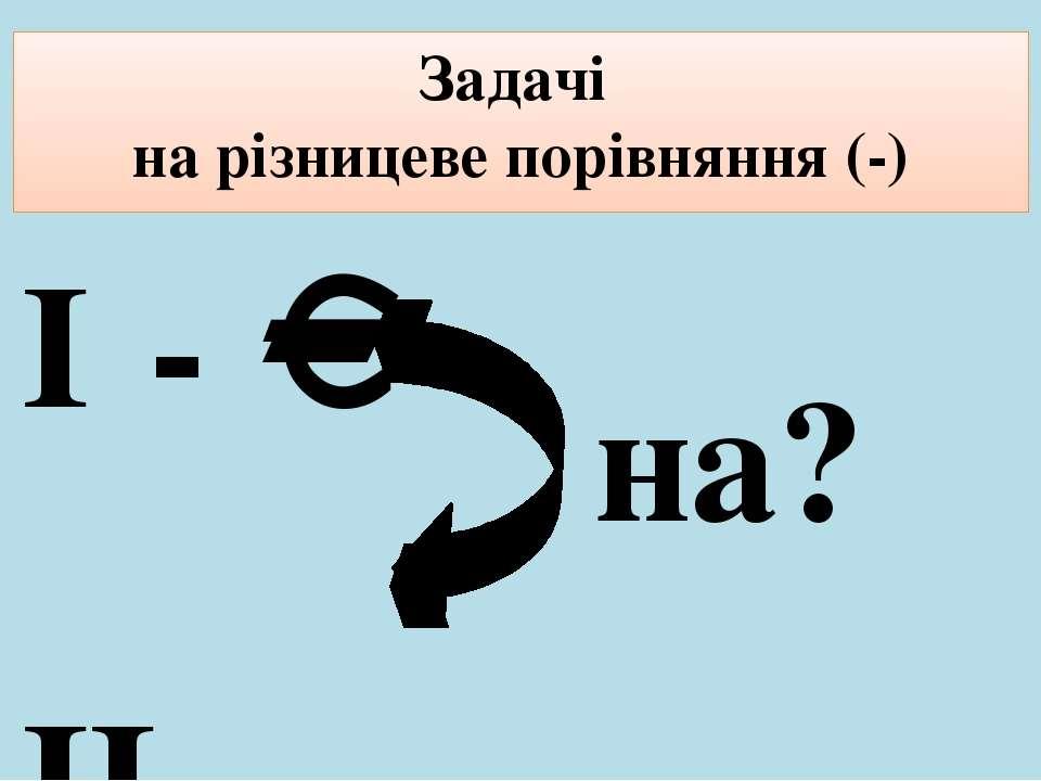 Задачі на різницеве порівняння (-) І - ІІ - на?