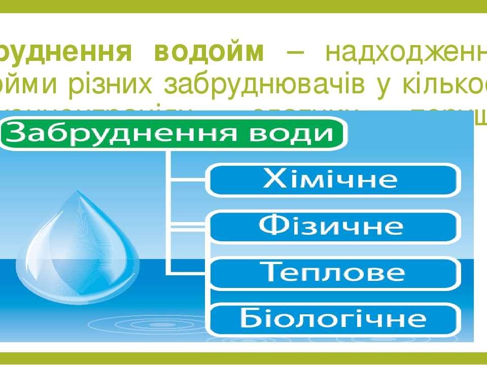 Забруднення водойм – надходження у водойми різних забруднювачів у кількостях ...