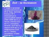 Йод – як біолемент У нормі в організмі людини міститься до 25 мг йоду, причом...