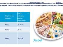 Енергетична цінність гіпертрофіків - > 25 кг/м2 (низькокалорійна дієта, калор...