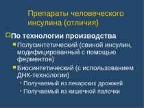 Препараты человеческого инсулина (отличия) По технологии производства Полусин...