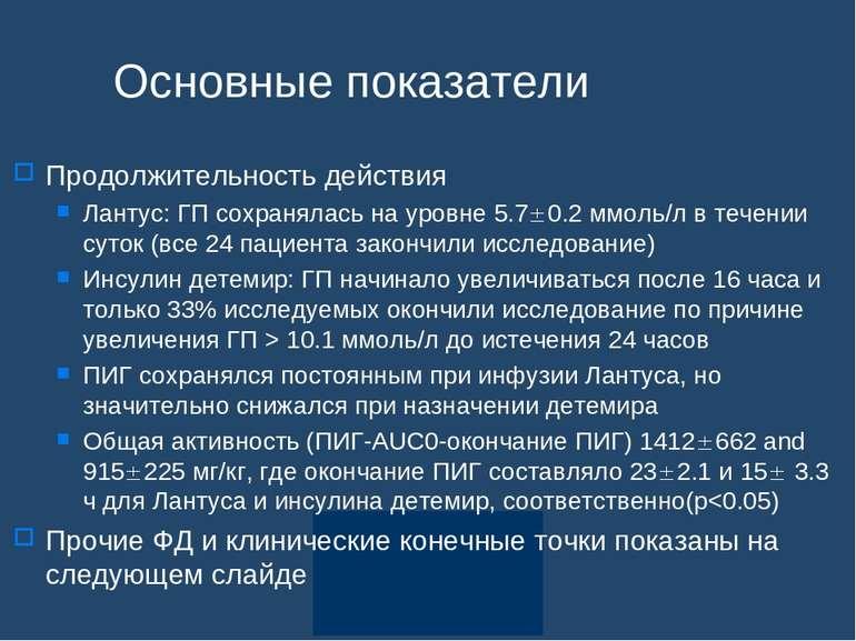 Основные показатели Продолжительность действия Лантус: ГП сохранялась на уров...