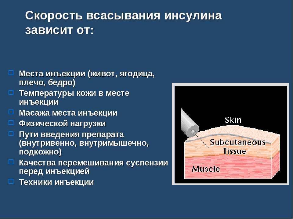 Скорость всасывания инсулина зависит от: Места инъекции (живот, ягодица, плеч...