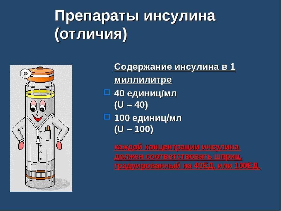 Препараты инсулина (отличия) Содержание инсулина в 1 миллилитре 40 единиц/мл ...