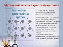 Металічна кристалічна гратка Металевий зв'язок і кристалічна гратка У вузлах ...