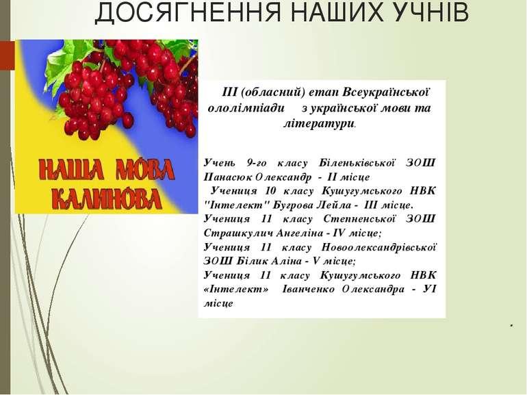 ДОСЯГНЕННЯ НАШИХ УЧНІВ .  ІІІ (обласний) етап Всеукраїнської ололімпіади з у...